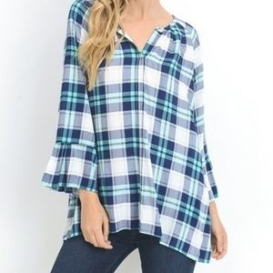 NWT JODIFL PLAID BELL SLEEVE BLOUSE TOP